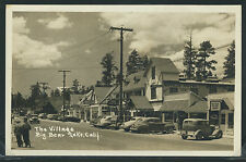 CA Big Bear Lake RPPC 1940's THE VILLAGE Street CARS Stores NAVAJO HOTEL Cafe
