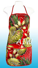 Unisex canvas Hawaiian floral print apron - 503Red