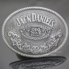 Western Cowboy Silver Jack Daniels Element Old No.7 Brocade Rodeo Belt Buckle W6