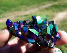 McEarl Mine___Dramatic Titanium Rainbow Aura Arkansas Quartz Crystal Cluster
