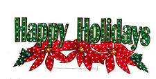 "72"" HUGE HOLOGRAPHIC LIGHTED HAPPY HOLIDAYS SIGN MERRY CHRISTMAS OUTDOOR Decor"