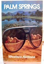 "WESTERN AIRLINES ORIGINAL POSTER ""Girl in Bikini with Sunglasses Palm Springs"""