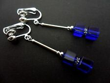 A PAIR OF LOVELY  SILVER PLATED BLUE CUBE BEAD CLIP ON EARRINGS. NEW.