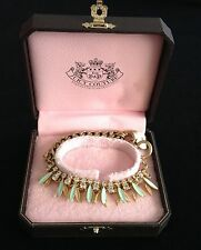 NIB Juicy Couture New Gen.Gold,Turquoise & Diamanté Layered Bracelet Heart Charm