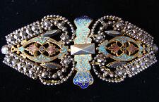 Antique Victorian Enamel Cut Steel Belt Buckle Clasp French Vintage Pendant