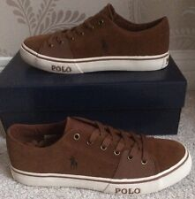 BNIB MENS POLO RALPH LAUREN CANTOR LOW SHOES/TRAINERS/SNEAKERS SIZE 11 IN BROWN