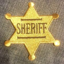 SHERIFF BADGE old western style EMBROIDERED IRON-ON PATCH police costume p4306