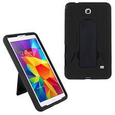 Black / Black Heavy Duty Plastic Hybrid Case for Samsung GALAXY Tab 4 7 Nook