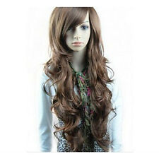 New Style Brown Fashion Long Wave Curly Wavy Women's Girl Full Hair Wigs Cosplay