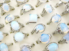 Wholesale Lots Jewelry 5pcs Opal Silver Plated Rings New Free Shipping J134