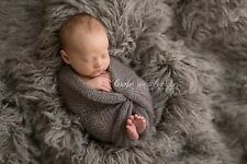 Grey Oyster Alpaca Faux Fur Photo Prop Newborn Nest 18 x 20 Inches Photography