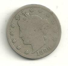 A VINTAGE 1898 LIBERTY HEAD NICKEL COIN-VARIATION EXTRA METAL ON 9 IN DATE