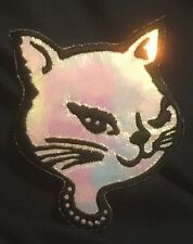 KITTY HEAD shiny silver/glitter EMBROIDERED IRON-ON PATCH **FREE SHIPPING** cat
