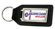 Triumph Acclaim Rectangle Black Leather Keyring