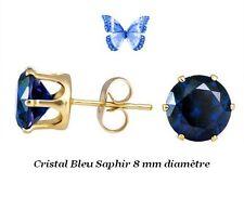Boucles d'Oreille Puces Cristal Zirconium Bleu Saphir Or Jaune Laminé*