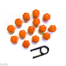 17mm Set 20 Orange Car Caps Bolts Alloy Wheels For Nuts Covers ABS PC Plastic