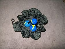 THREE (3) STRESS RELIEF MARBLED BALLS IN VELOUR POUCH