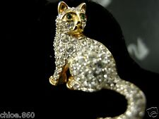 SIGNED SWAROVSKI PAVE' CRYSTAL CAT  PIN ~BROOCH RETIRED NEW