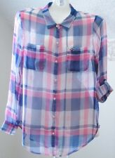 Womens Hollister L Sheer Pink Blue Plaid Button Front Convertible Long Sleeve