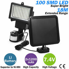 100 SMD LEDs Solar Powered Motion Sensor Security Flood Light Spot Garden Lamp