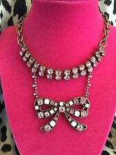 Betsey Johnson Vintage Pink Crystal Antique Bow HUGE Choker Necklace VERY RARE