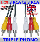 Brand New RCA Three 3 to 3 Triple Phono Audio Video AV Cable Lead ( 1.2m )