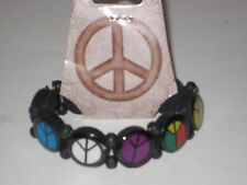 Retro Peace Sign Wooden Bracelet - Groovy, Girls Boys Jewelry Wrist Band, Rasta