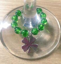 Handmade Good Luck Wine Glass Charm, Four Leaf Clover