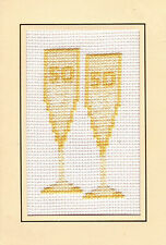"50th Golden Glasses Wedding Anniversary - Cross Stitch Card Kit 4""x6"" 14 Count"