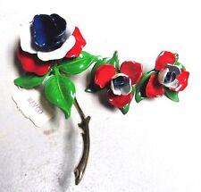 Vintage 60's Large Flower Power Enamel Pin Brooch Clip On Earrings Set