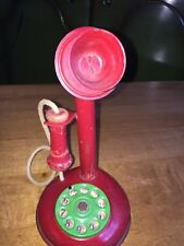 Vintage 1930's Style Candlestick Red Toy Metal Telephone