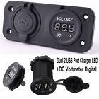 Duel 2 USB Port Charger LED With DC Voltmeter Digital For Car Boat Marine edk
