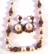 Sterling Silver Marcasite Necklace & Earring Set With Faux Pearls