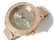 Iced Out Bling Bling Big Case Hip Hop Techno King Men's Watch Brown Item 1745