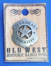 Western Decorament Antiqued Silver Dodge City Marshal Hat Pin/Tie Tack/Lapel Pin