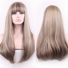 Sexy Women Long Straight Hair Wigs Neat Bang Natural Blonde Mix Cosplay Costume