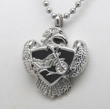 Motorcycle Cremation Jewelry Urn Biker Necklace Eagle Memorial Keepsake Urns