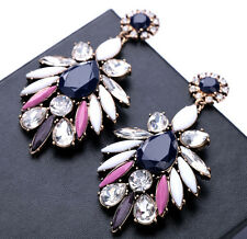 Hot Sell Retro Charm Resin Crystal Flower Dangle Big Statement Stud Earring Free