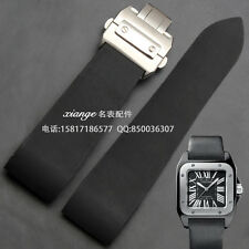 25mm Rubber Watch Strap Band for Cartier Santos series Men's + tool accessories