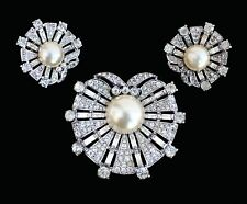 "Vintage ""Trifari"" Sterling Dream Shell Fur Clip & Earrings"