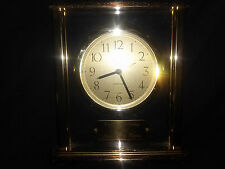 "BEAUTIFUL BRASS LINDEN MANTLE CLOCK WITH "" HAPPY BIRTHDAY MOM"" PLAQUE 6 1/2 IN."
