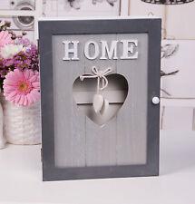 Wooden Hearts Key Box Rack Cabinet KEYS Holder Storage Shabby chic Grey