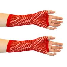 Red Long fishnet fingerless fancy dress gloves