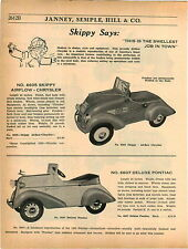 1937 ADVERT Skippy Racer Airflow Chrysler Pontiac American Auburn Ace Pedal Car