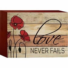 """LOVE NEVER FAILS Distressed Wood Box Sign, 6"""" x 8"""", by P. Graham Dunn"""