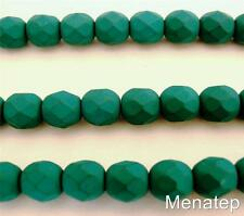 25 6mm Czech Glass Firepolish Beads: Neon - Emerald