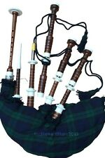 PROFESSIONAL SCOTTISH BAGPIPE IVORY MOUNTS CORD TARTEN CHANTER BAG