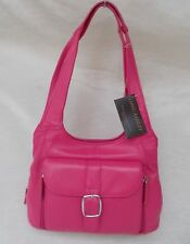 New Women's Ohh Ashley Lambskin Leather Multi Compartment Organizer Hot Pink