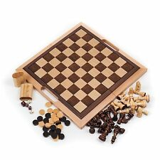 Deluxe Quality Wooden Chess, Checker & Backgammon Set - Fold in Half for Storage