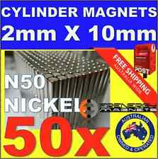 50X Cylinder ROD Neo Rare Earth Magnets 2mm X 10mm N50